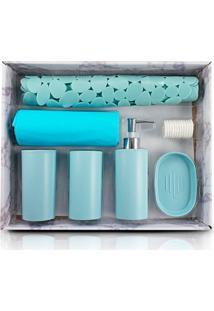 Kit Banheiro Completo Saboneteira Tapete Porta Escovas Cortina Box Azul