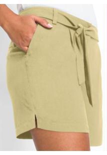 Shorts Alfaiataria Com Amarração Amarelo