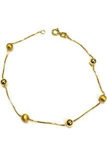 Pulseira Bola De Ouro Fosca Lisa - Feminino-Dourado