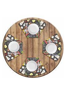Jogo Americano Para Mesa Redonda Wevans Pizza Menu Kit Com 4 Pçs Love Decor
