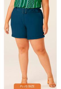 Shorts Azul Tradicional Em Crepe Plus