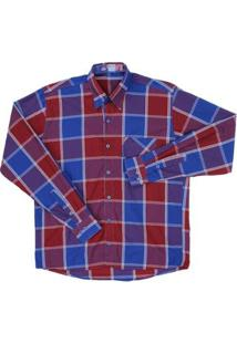 Camisa Masculina Xadrez Manga Longa Rodeo Western - Masculino-Vermelho+Azul
