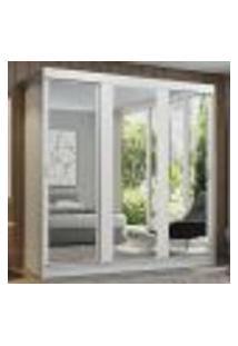 Guarda-Roupa Casal Madesa Reno 3 Portas De Correr De Espelho - Branco