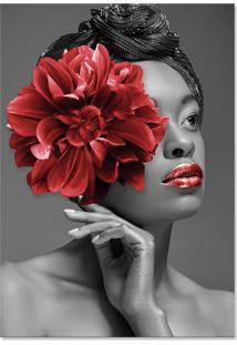 Quadro 60X90Cm Canvas Ângela Mulher Com Flor Vermelha Nórdico