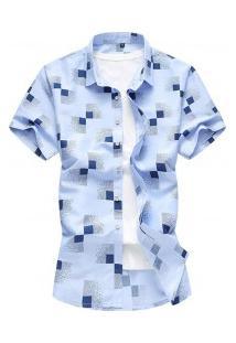 Camisa Masculina Estampa Xadrez Manga Curta - Azul Claro
