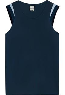 Blusa Azul Marinho Em Malha De Viscose