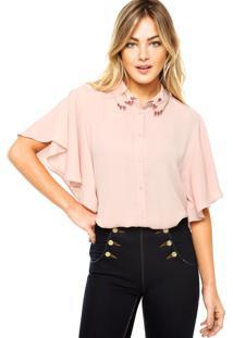 Camisa Manga Curta Carmim Elza Rosa