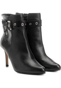 Bota Couro Cano Curto Shoestock Salto Fino Fivela Feminina - Feminino