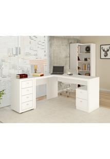 Mesa Para Escritório, 2 Gavetas, Me4129 Tecno Mobili Fosco Branco Branco