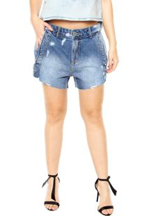 Bermuda Jeans Lança Perfume Hot Pant Comfort Azul