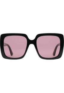 Gucci Eyewear Óculos De Sol Retangular - Preto