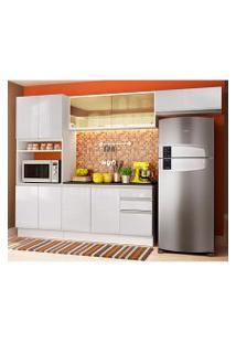 Cozinha Completa Madesa Acordes 100% Mdf Com Armário E Balcão + Tampo Frentes Branco Brilho Cor:Branco Brilho