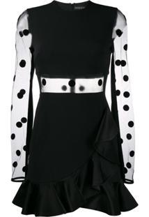 David Koma Polka-Dot Cutout Dress - Preto
