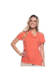 Blusa Feminina Moda Fechamento Longo Botões Brilho Laranja P Laranja