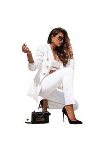 Blazer Branco Feminino Blaser Casual Blazers Manga Comprida Blazer Para Mulheres