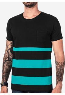 Camiseta Meio A Meio Listras Turquesa 101604