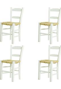 Kit 4 Cadeiras Lagiana Pequenas Eucalipto Branca Assento Palha - 59472 - Sun House