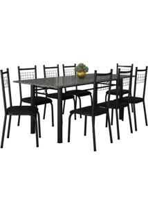 Conjunto De Mesa Cordoba Com 8 Cadeiras Lisboa Preto Liso