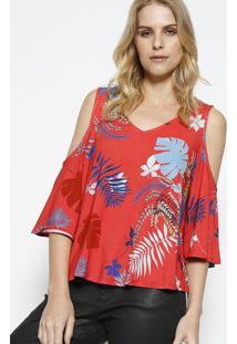 Blusa Floral Com Vazado - Vermelha & Azul - Malweemalwee