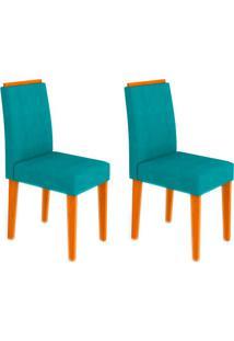 Conjunto Com 2 Cadeiras Ana Ipê E Turquesa