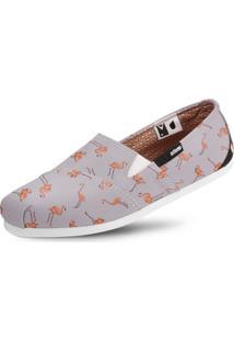 Alpargata Usthemp Slim Vegano Casual Estampa Flamingo Cinza