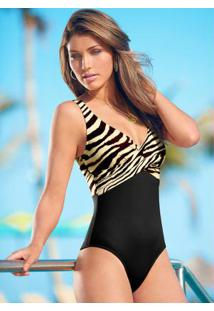 Maiô Com Transpasse Animal Print Zebra Marrom
