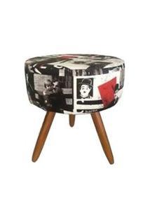 Puff Banqueta Redondo Classic Suede Charlie Chaplin Vintage - Ds Móveis