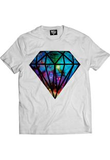 Camiseta Manga Curta Skull Clothing Diamante Galaxy Branco