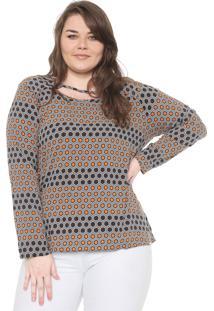 Blusa Cativa Plus Geométrica Preto/Laranja