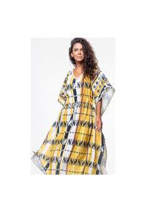 Vestido Kaftan 101 Resort Wear Longo Crepe Estampado Tribal Amarelo