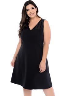 Vestido Forma Rara De Festa Plus Size Crepe Paetê Preto-58