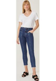 Calça Jeans Skinny Recortes Frente