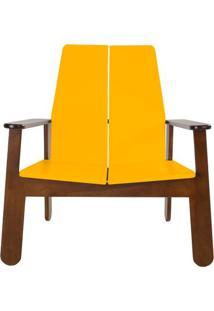Poltrona Paleta Estrutura Cacau Acabamento Amarelo 88Cm - 61083 - Sun House