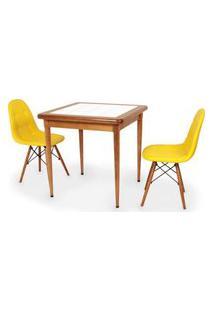 Conjunto Mesa De Jantar Em Madeira Imbuia Com Azulejo + 2 Cadeiras Botonê - Amarelo