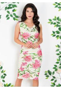 Vestido Floral E Listrado Com Decote V