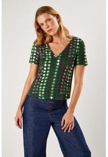 T-Shirt Malha Est Monk Verde Sacada Feminina - Feminino-Verde