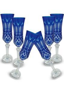 Conjunto De Taças Champagne Lapidado 6 Peças Azul Escuro - Tricae