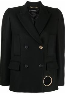Versace Blazer Com Abotoamento Duplo E Ombreiras - Preto