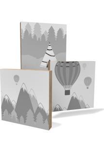 Quadro Adoraria Kit 3 Placas Branco