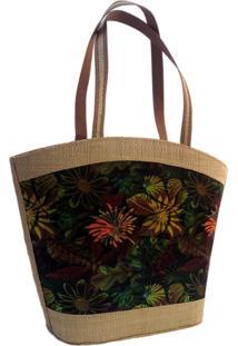 Bolsa Em Palha Artestore Marrom Com Estampa Natureza Floral Verde