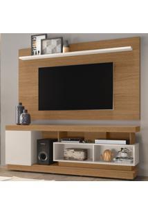 Rack Com Painel Para Tv Até 70 Polegadas Tijuca Enseada Natura Real/Off White - Colibri Móveis