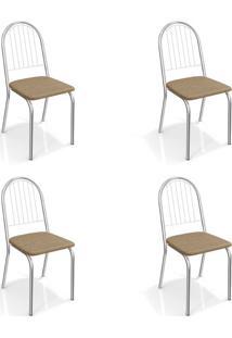 Conjunto Com 4 Cadeiras De Cozinha Noruega Cromado E Capuccino