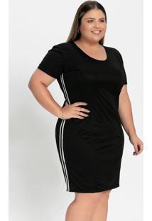 Vestido Curto Preto Com Cadarço Plus Size