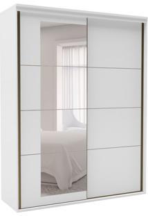 Guarda-Roupa Solteiro Eleganza Com Espelho 2 Pt 3 Gv Branco