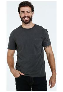Camiseta Masculina Manga Curta Bolso Marisa