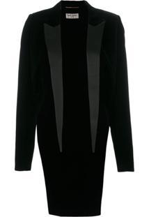 Saint Laurent Blazer Com Calda - Preto