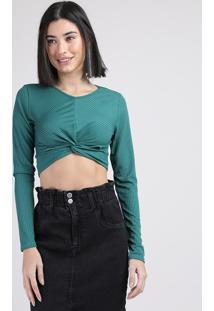Blusa Feminina Cropped Canelada Com Nó Manga Longa Decote Redondo Verde