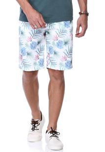 Bermuda Branca King&Joe Estampada Floral