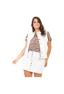 Colete Jeans Feminino Com Lycra Plus Size