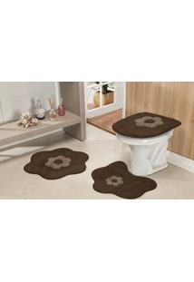 Jogo De Banheiro Guga Tapetes Form.Stand. Margarida 3Pçs Café